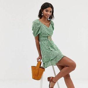 ASOS Design wrap double layer mini dress in ditsy